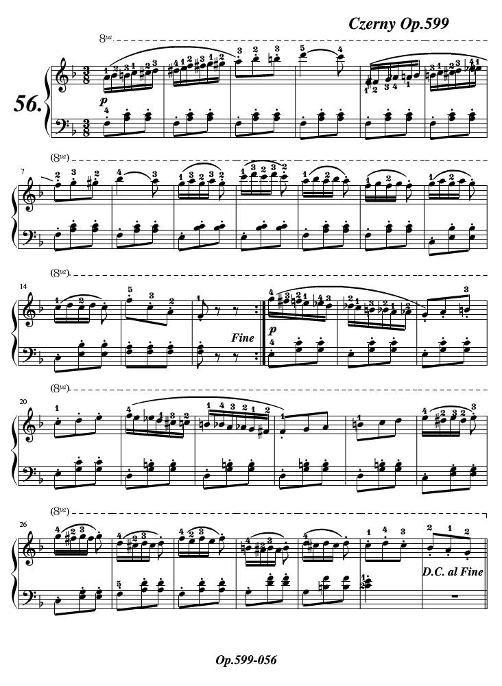 车尔尼599练习曲第56条