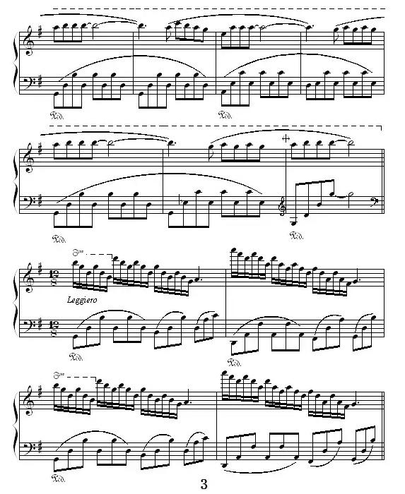 《童年的回忆》钢琴谱