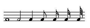全音符、二分音符、四分音符、八分音符、十六分音符、三十二分音符、六十四分音符