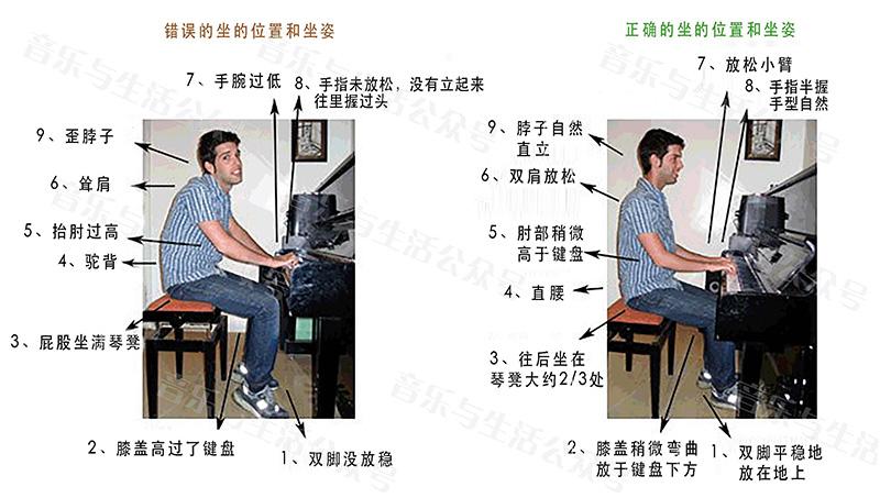 钢琴坐姿示意图