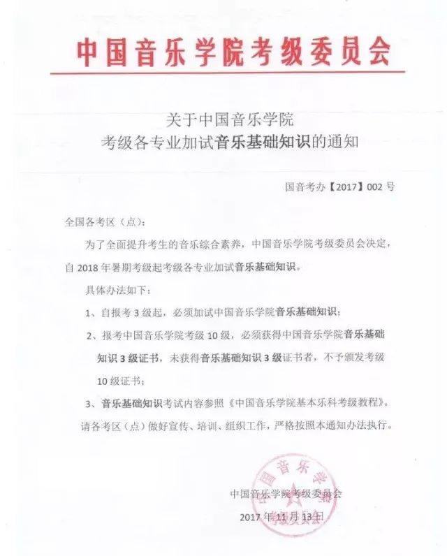 中国音乐学院考级将音乐基础知识正式加入考级考试项目