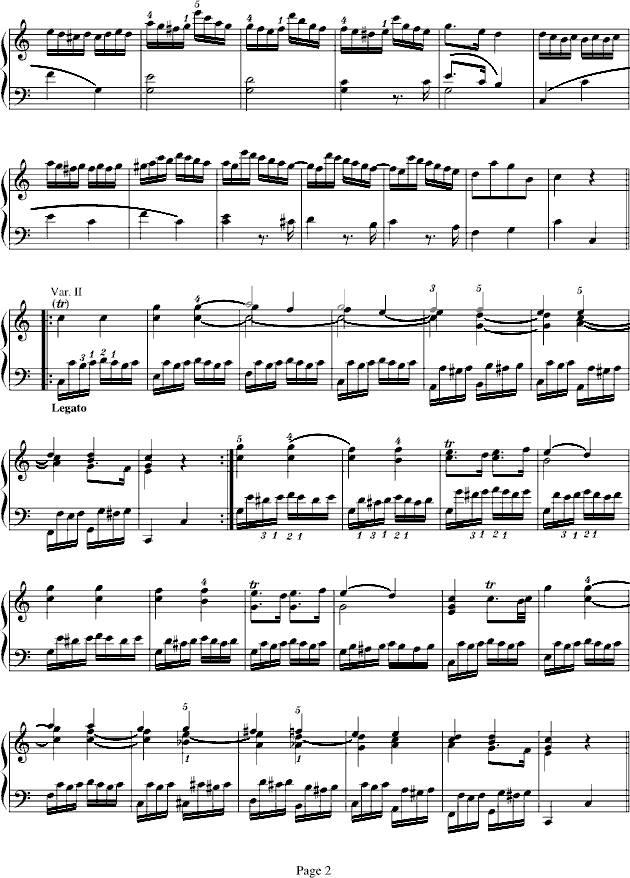 小星星变奏曲钢琴谱