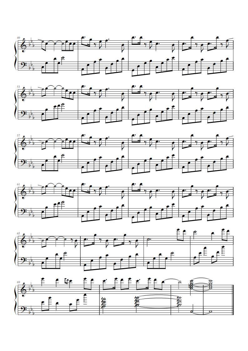 网易云往后余生钢琴简谱
