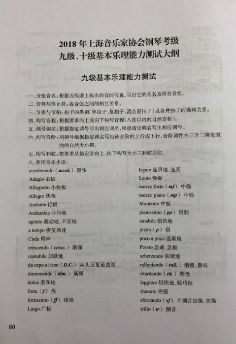 2018年上海音协钢琴考级九级基本乐理能力测试大纲