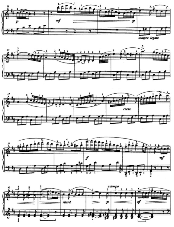《D大调小奏鸣曲第二乐章》钢琴谱