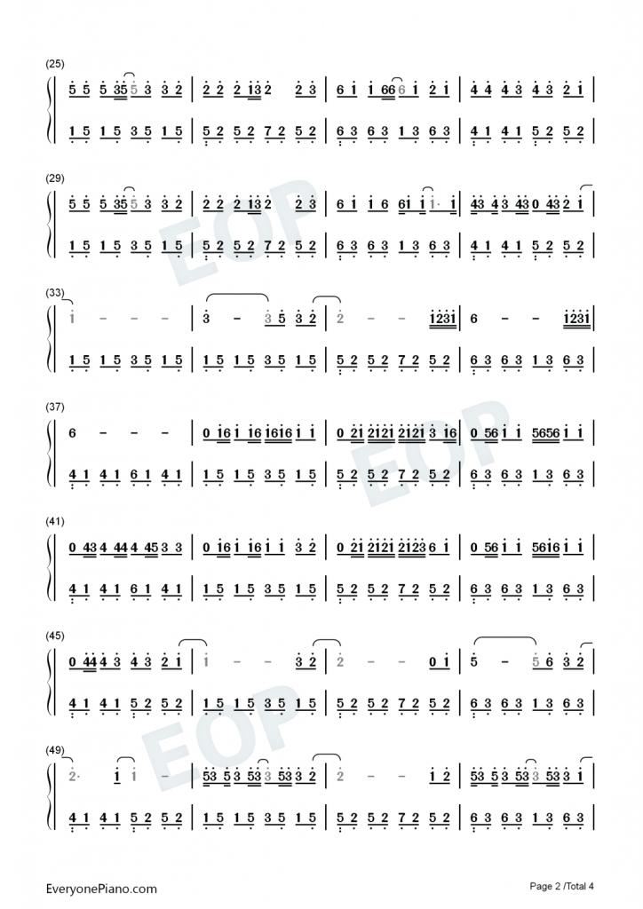 调简谱数字_钢琴简谱数字