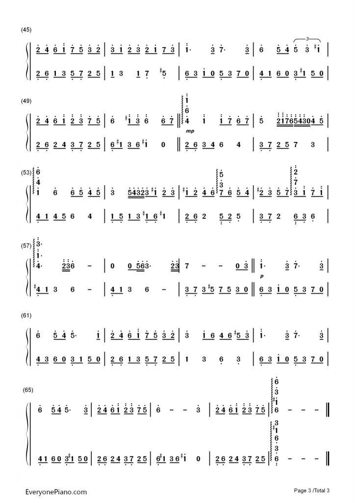 《更替的四季》 钢琴数字简谱-魔女宅急便主题曲