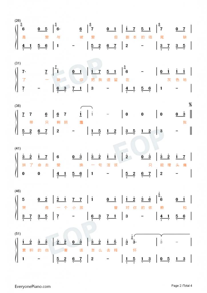 抖音热歌《活该》钢琴数字简谱