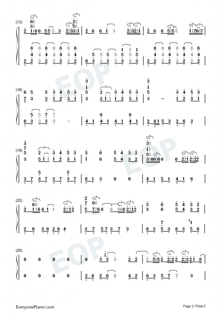 蔡徐坤《情人》钢琴数字简谱