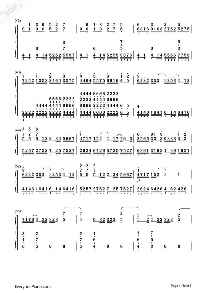 薛之谦《丑八怪》钢琴数字简谱