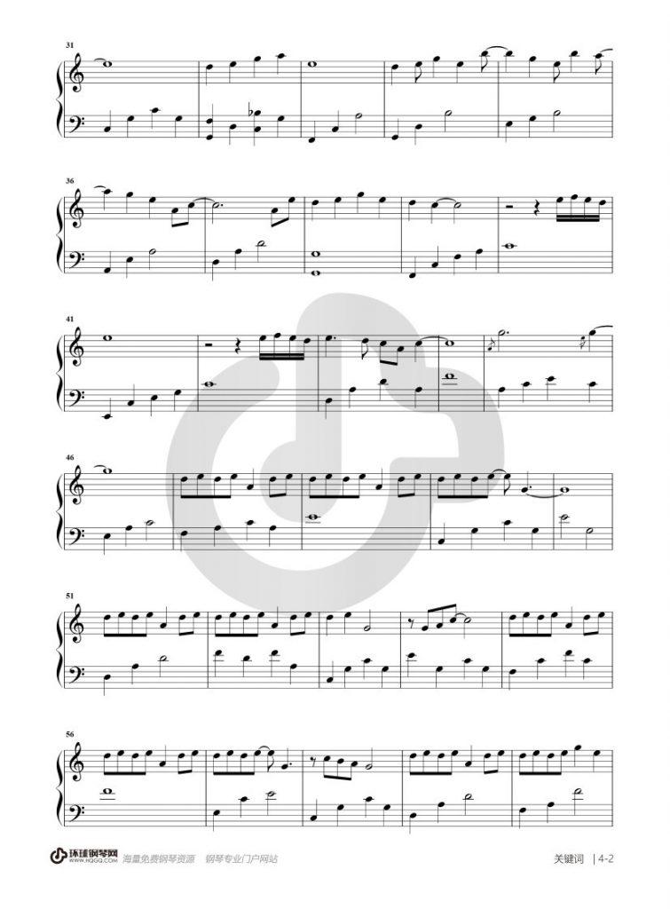 关键词 钢琴谱 - 林俊杰