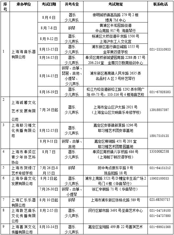 上海音乐学院2021年夏季社会艺术水平考级声乐、器乐专业开考计划表